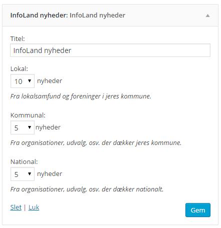 Skærmbillede af widget indstillingerne til Infobar widget.